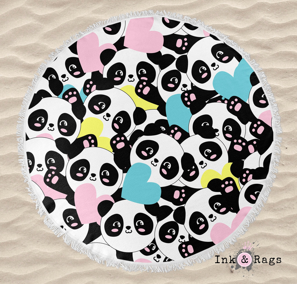 Panda Hearts Round Beach Towel