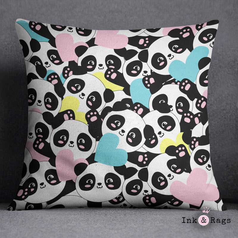 Panda Hearts Decorative Throw and Pillow Cover Set