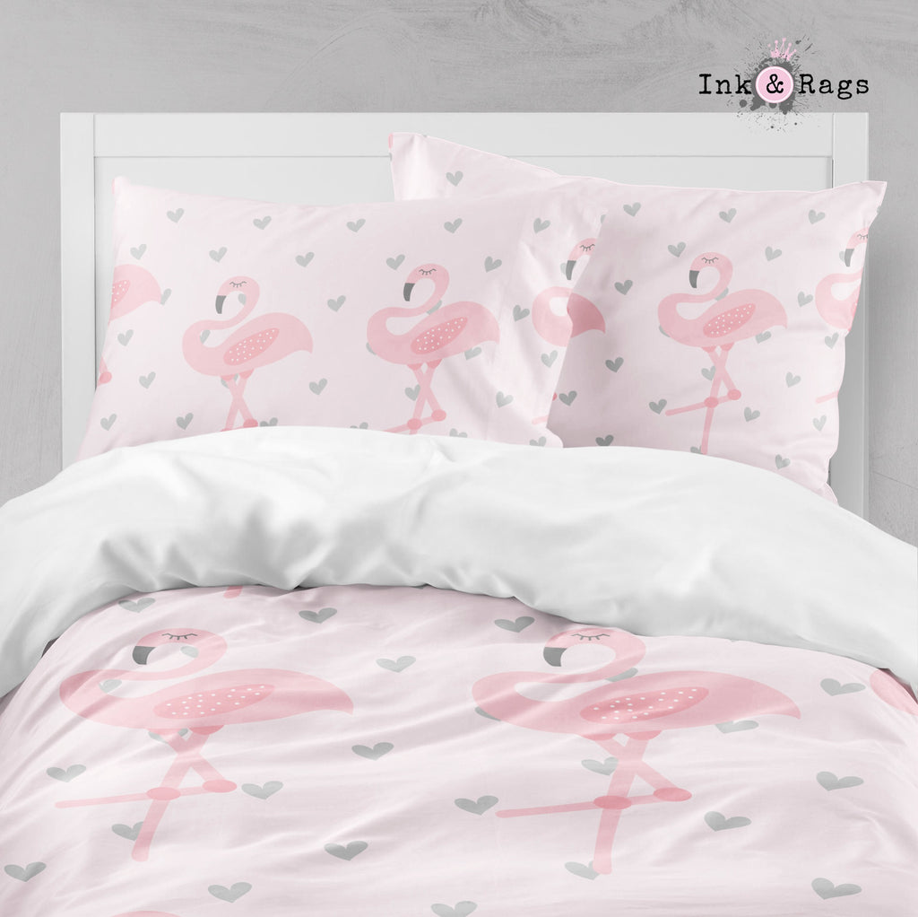 Baby Pink Marching Flamingo Heart Big Kids Bedding