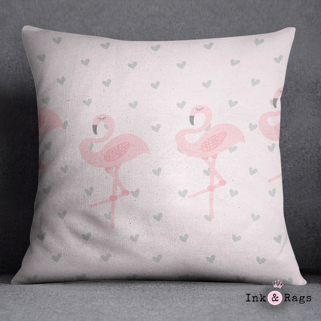 Baby Pink Marching Flamingo Heart Throw Pillow