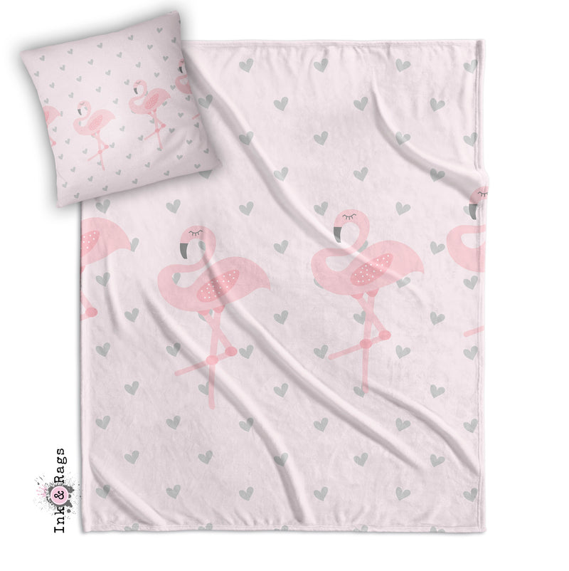 Baby Pink Marching Flamingo Heart Decorative Throw and Pillow Set