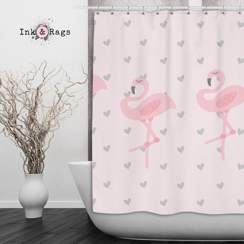 Baby Pink Marching Flamingo Heart Shower Curtains and Bath Mats