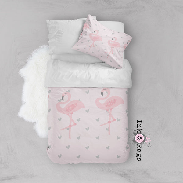 Baby Pink Marching Flamingo Heart Crib and Toddler Size Comforter Sets