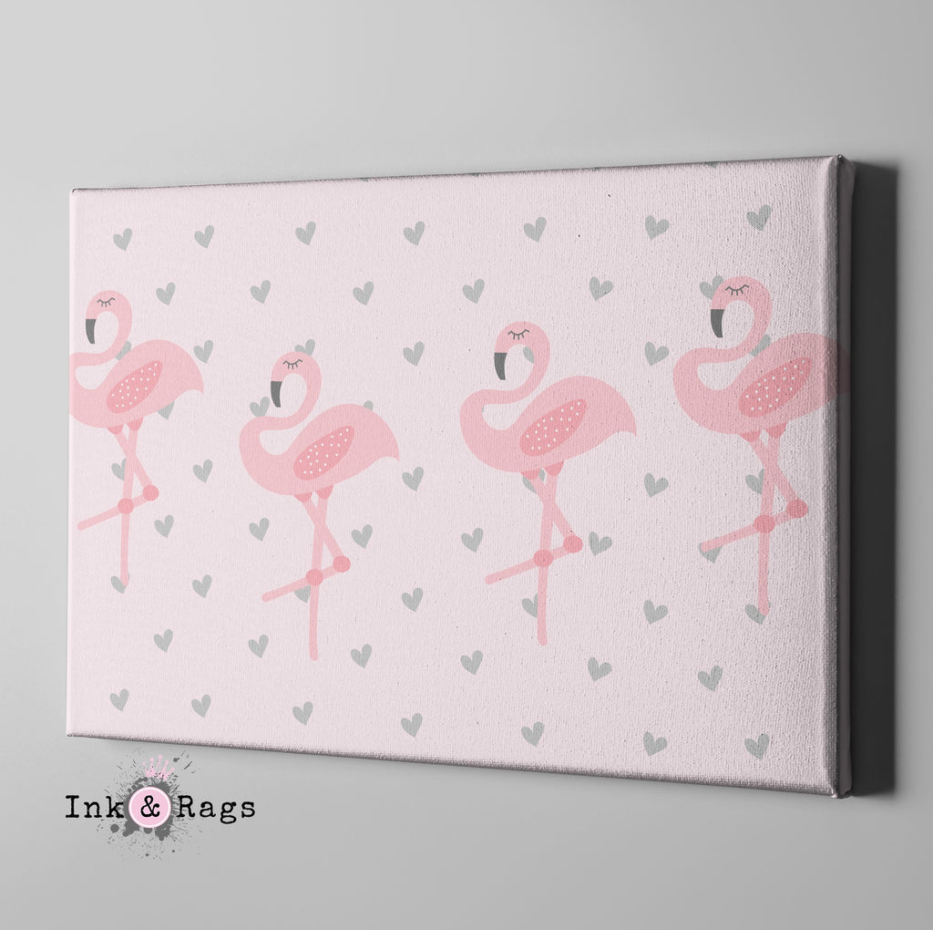Baby Pink Marching Flamingo Heart Gallery Wrapped Canvas