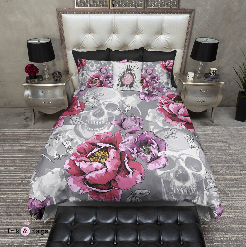 Violet Berry and Grey Tulip and Flower Skull Bedding