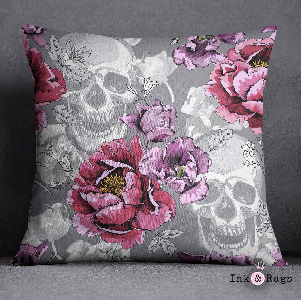 Violet Berry and Grey Tulip and Flower Skull Decorative Throw and Pillow Cover Set