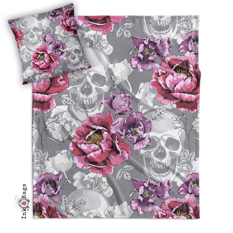 Violet Berry and Grey Tulip and Flower Skull Decorative Throw and Pillow Set