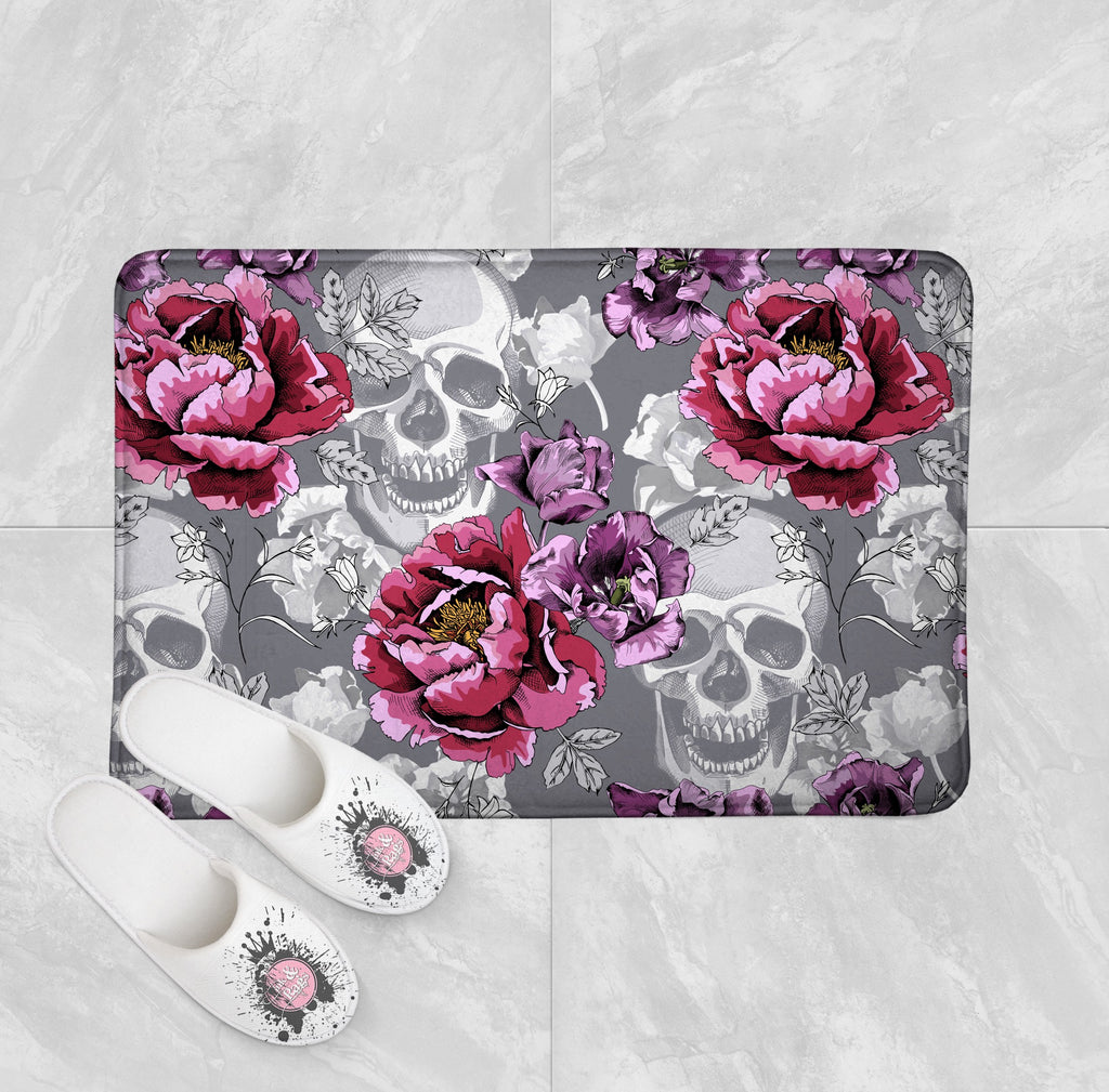 Violet Berry and Grey Tulip and Flower Skull Shower Curtains and Optional Bath Mats