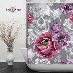 Violet Berry and Grey Tulip and Flower Skull Shower Curtains and Bath Mats