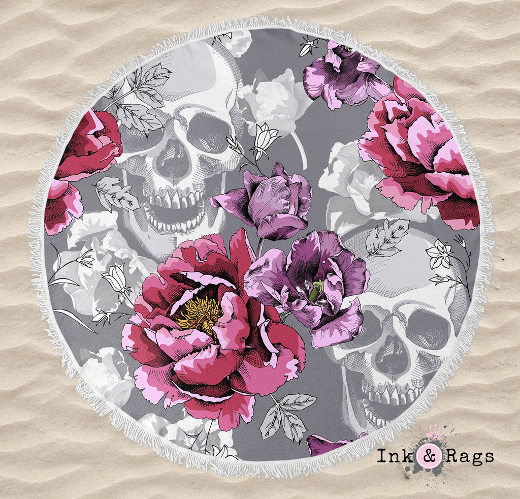 Violet Berry and Grey Tulip and Flower Skull Round Beach Towel