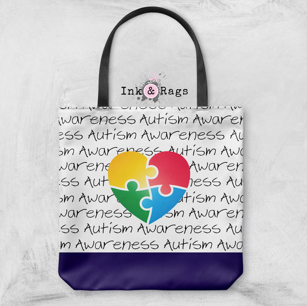 Puzzle Piece Heart Autism Awareness Bag