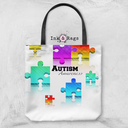 Floating Puzzle Piece Autism Awareness Bag