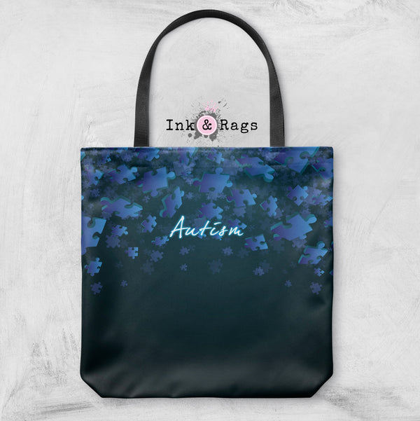 Blue Falling Puzzle Piece Autism Awareness Bag