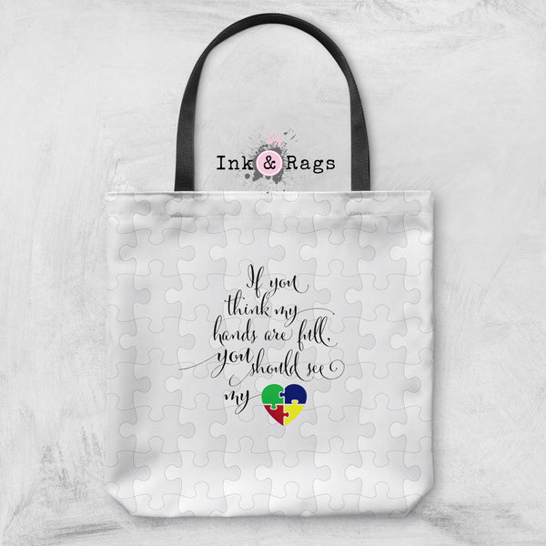 Heart and Hands Full Autism Awareness Bag