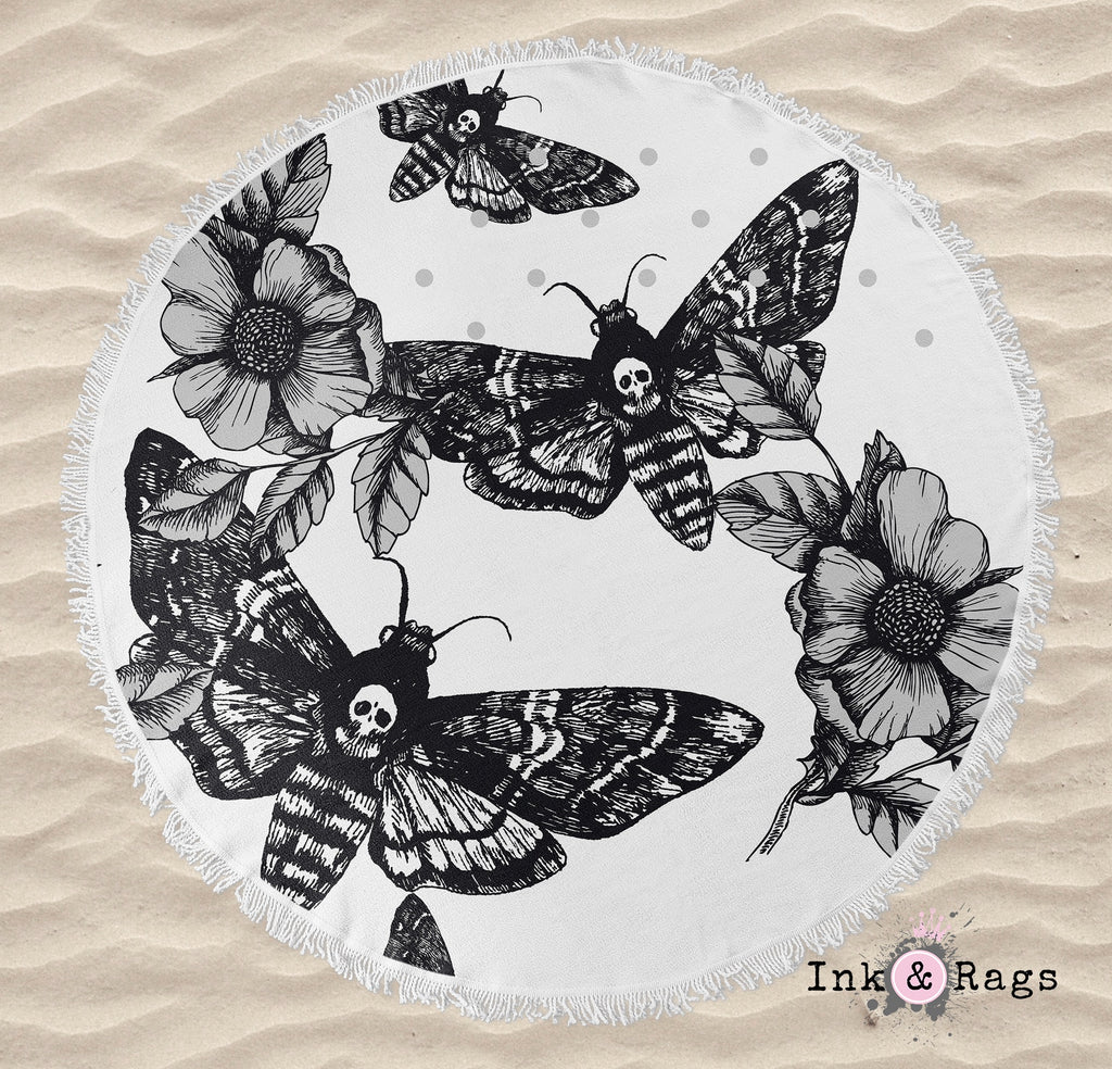 Black on White Death Moth Round Beach Towel