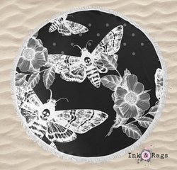 White on Black Death Moth Round Beach Towel