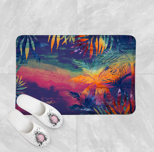 Abstract Tropical Sunset Shower Curtains and Bath Mats