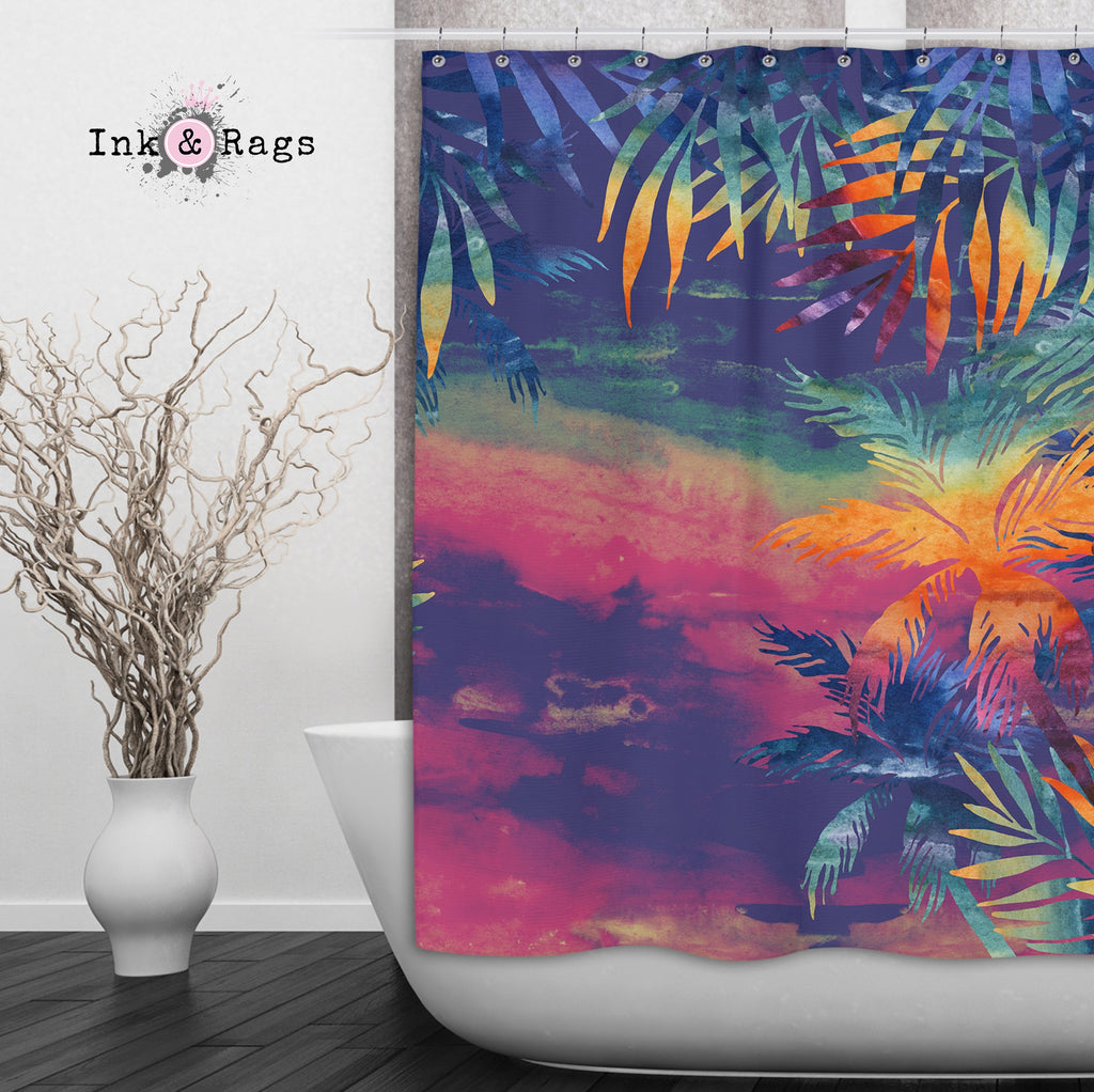 Abstract Tropical Sunset Shower Curtains and Optional Bath Mats
