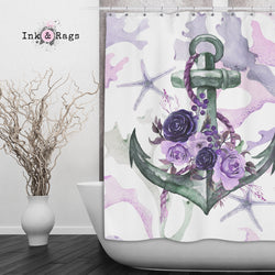 Green and Purple Anchor Rose Coral Starfish Nautical Shower Curtain and Bath Mat