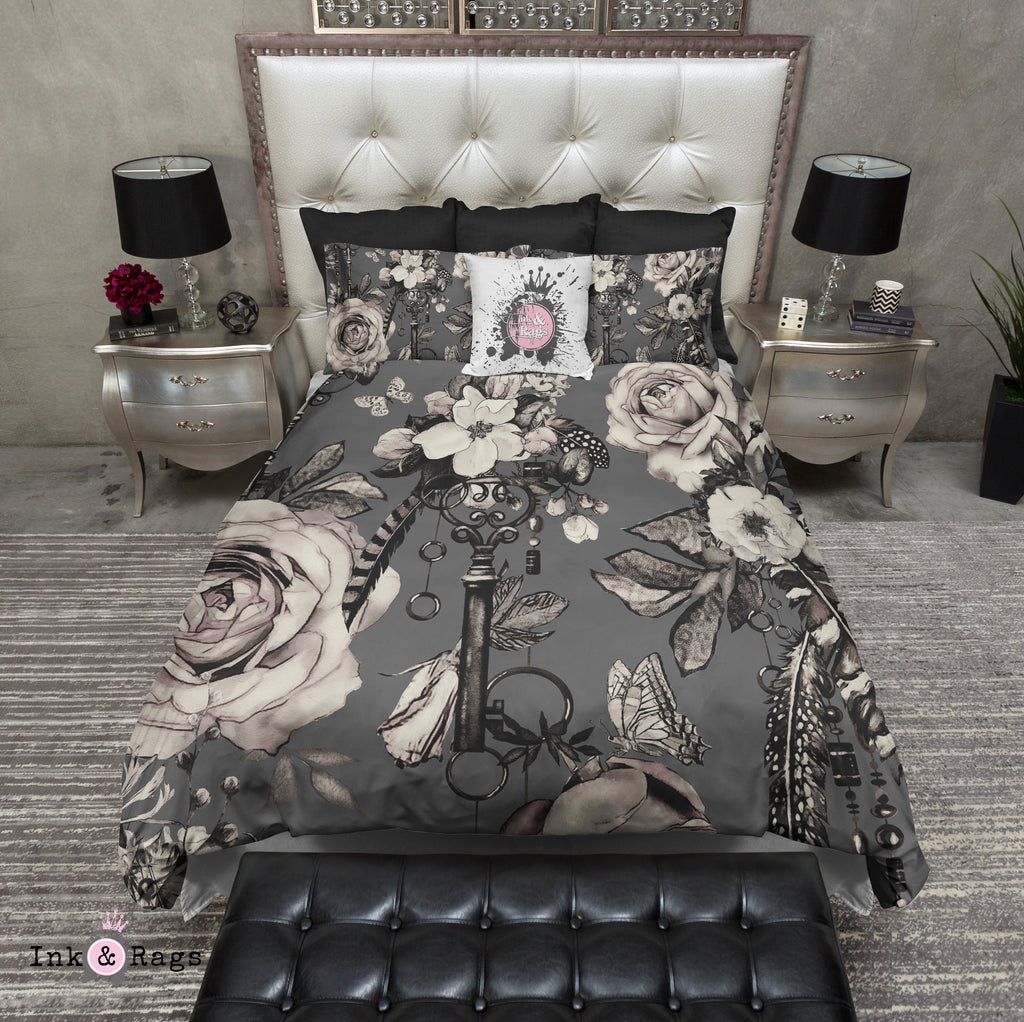 Steampunk Inspired Vintage Key Feather and Rose on Grey Bedding Collection