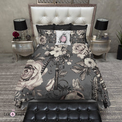 Steampunk Inspired Vintage Key Feather and Rose on Grey Bedding