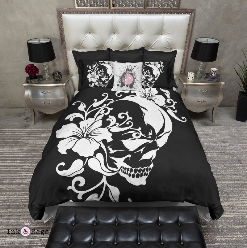 Black and White Hibiscus and Masked Skull Bedding