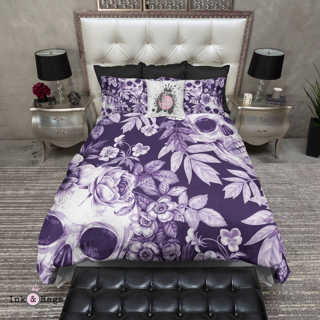 White on PurplePrint Flower and Skull Bedding Collection