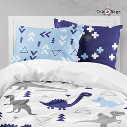 Shades of Blue and Grey Geometric Dino Big Kids Bedding