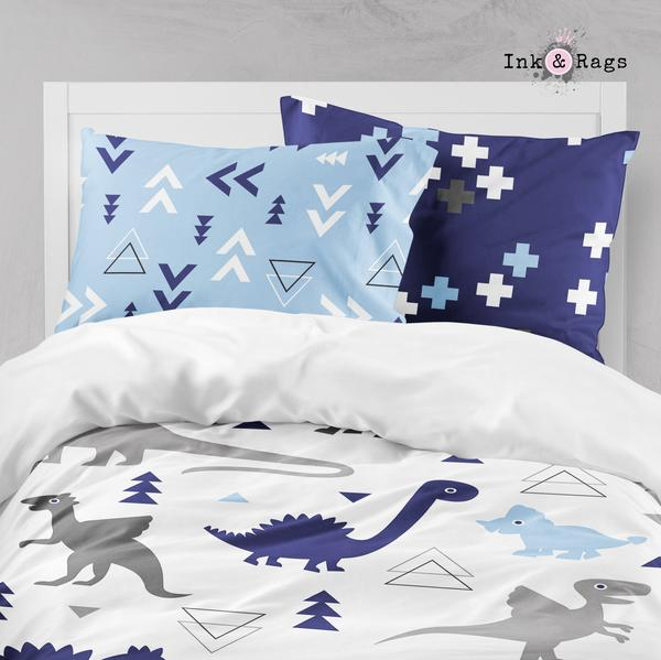 Shades of Blue and Grey Geometric Dino Crib and Toddler Bedding Collection