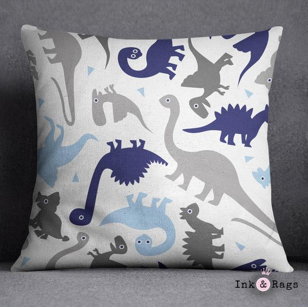 Shades of Blue and Grey Geometric Dino Crib and Toddler Size Comforter Sets