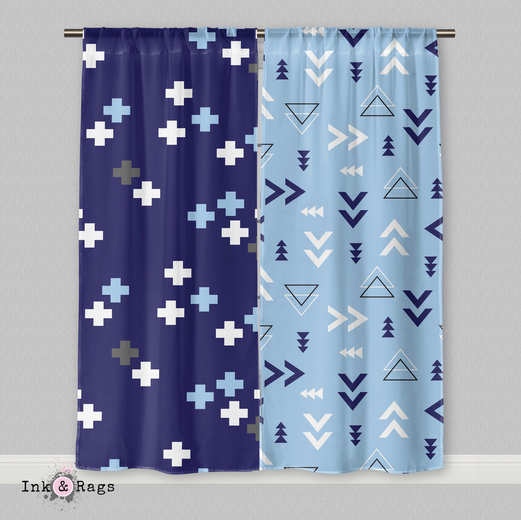 Shades of Blue and Grey Geometric Dino Curtains