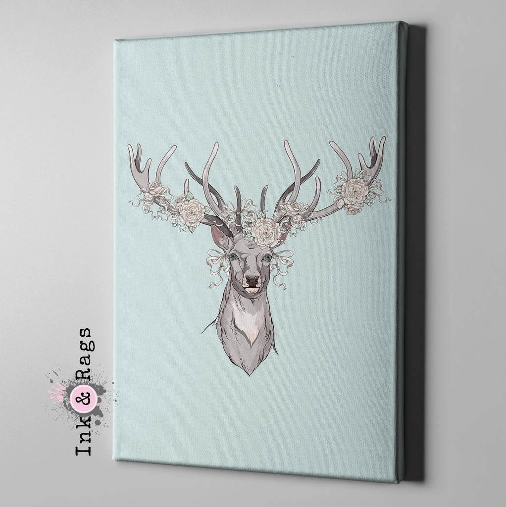 Country Chic Deer and Rose Gallery Wrapped Canvas