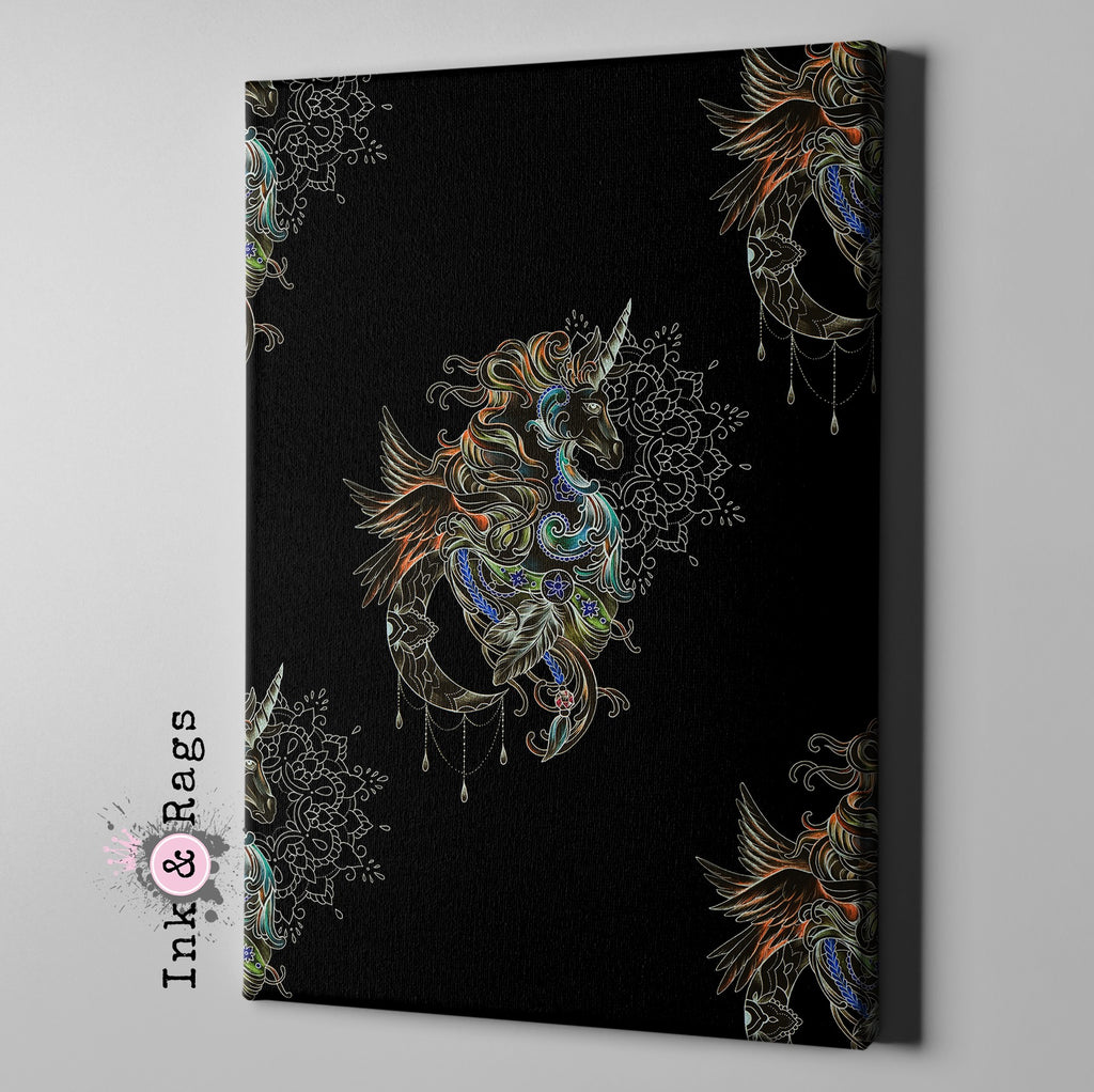 Bohemian Winged Unicorn Mandala Moon Gallery Wrapped Canvas