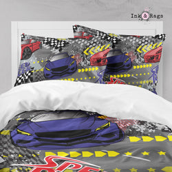 Speed Racer Race Car Red Yellow and Blue Big Kids Bedding