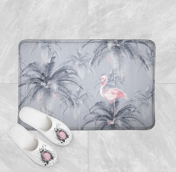 Ink Drum Style Grey Palm and Pink Flamingo Shower Curtains and Bath Mats
