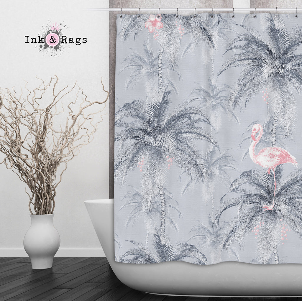 Ink Drum Style Grey Palm and Pink Flamingo Shower Curtains and Optional Bath Mats