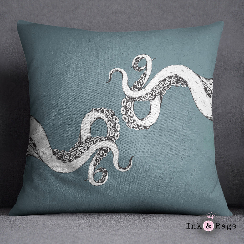 Wrapped in Tentacles Ocean Blue Throw Pillow