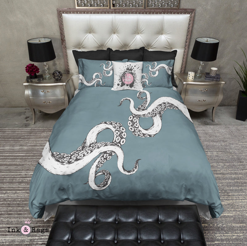 Wrapped in Tentacles Ocean Blue Octopus Bedding