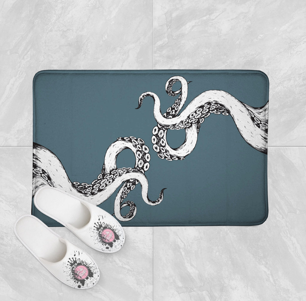 Wrapped in Tentacles Ocean Blue Octopus Shower Curtains and Optional Bath Mats