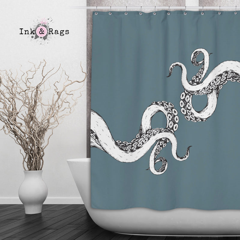 Wrapped in Tentacles Ocean Blue Octopus Shower Curtains and Bath Mats