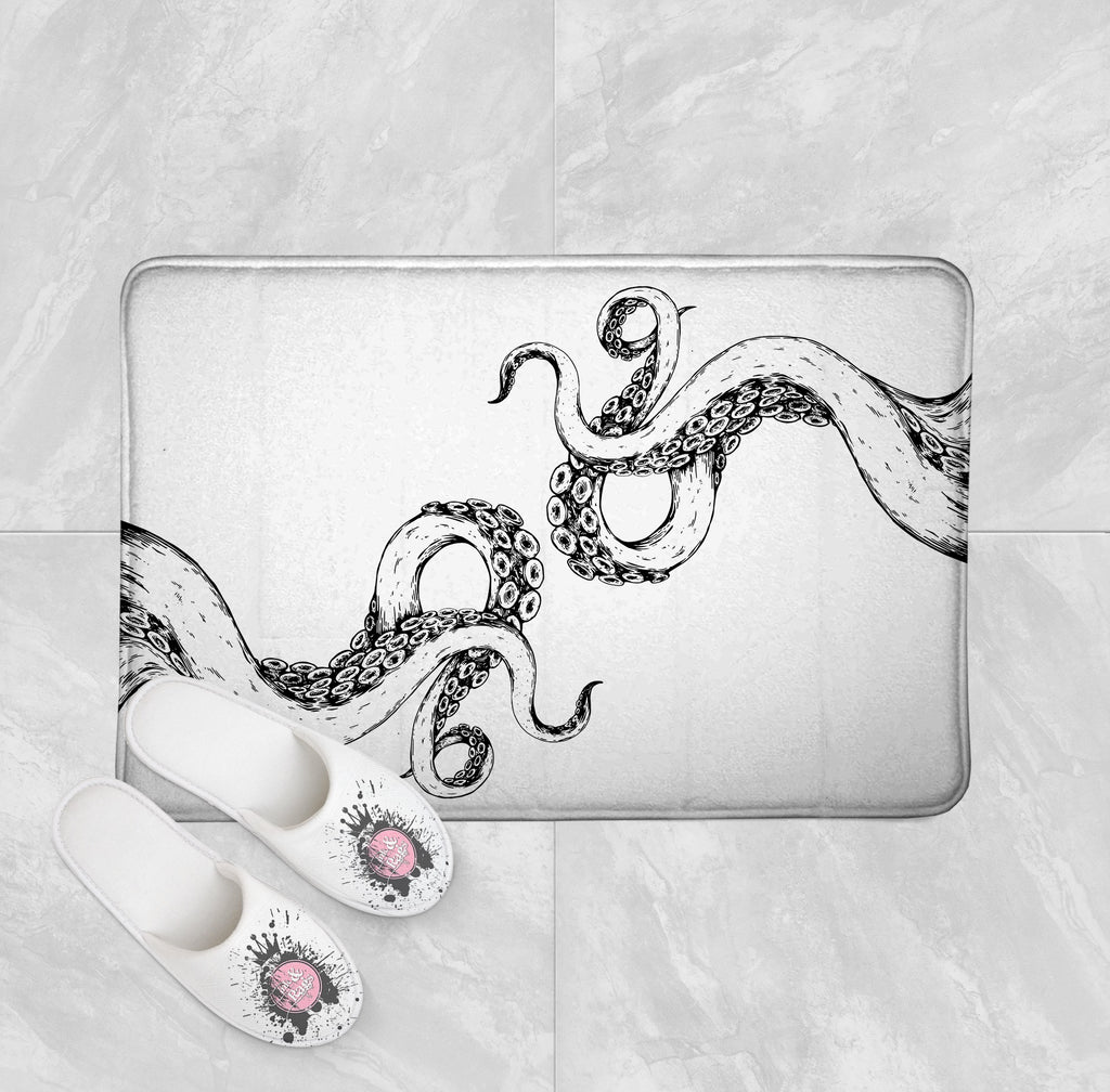 Wrapped in Tentacles White Octopus Shower Curtains and Optional Bath Mats
