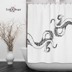 Wrapped In Tentacles White Octopus Shower Curtains And Bath Mats