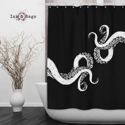 Wrapped in Tentacles Black Octopus Shower Curtains and Bath Mats