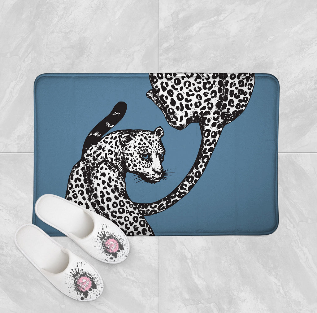Blue Eyed Leopard Shower Curtains and Optional Bath Mats