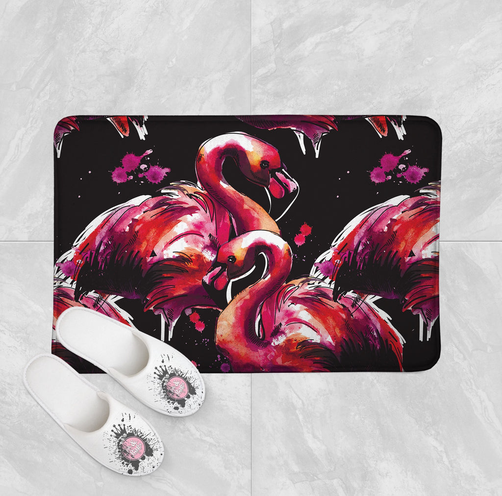 Hot Pink Watercolor Flamingo Shower Curtains and Optional Bath Mats