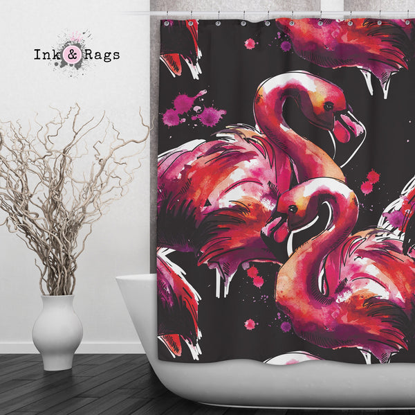 Hot Pink Watercolor Flamingo Shower Curtains and Bath Mats