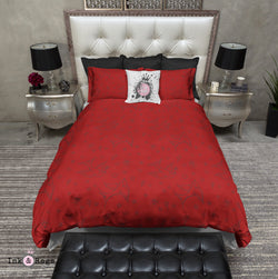 Red and Black Rockabilly Tattoo Style Swallow Bedding