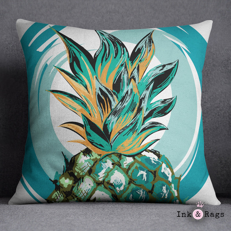 Teal Pineapple Decorative Throw Pillow Cover