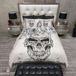 Beige Dot Rose Crown Skull Bedding