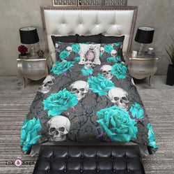 Turquoise Rose and Purple Thorns Skull Bedding